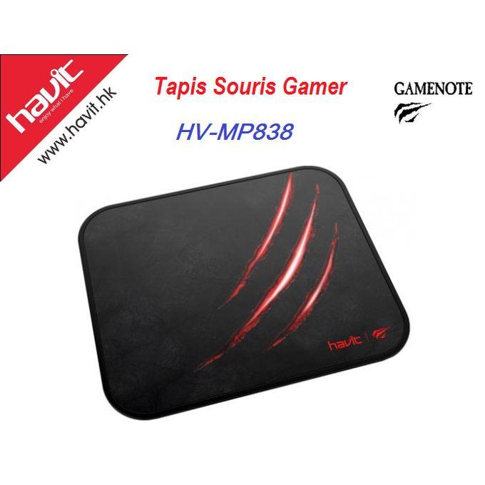 tapis de souris de jeu gamer hv mp838 noire rouge
