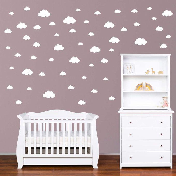 stickers muraux enfants nuages autocollants decoration murale chambre bebe facile a poser blanc 81 pieces