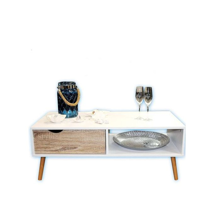 table basse 1 tiroir 1 niche finition effet table de salon moderne blanc