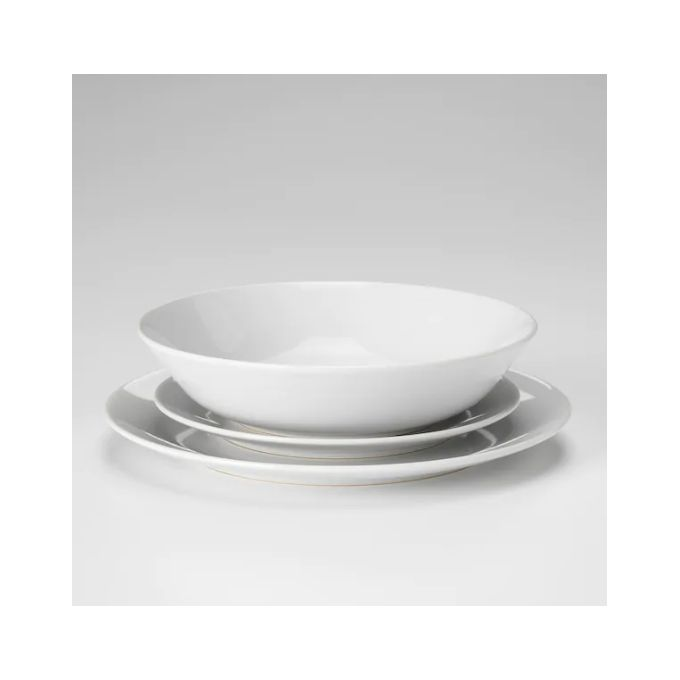 service 18 pieces blanc 6 assiettes 26cm 6 assiettes creuses 22cm 6 assietted desert 20cm