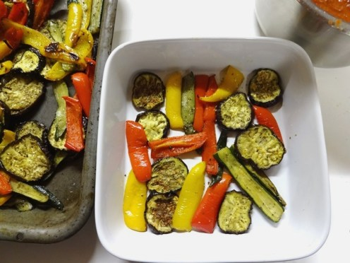 Step 1 - Make a layer of roasted vegetables