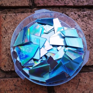 Cut up all the CD's before you start the mosaic.