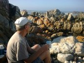 We often have early morning coffee on the rocks