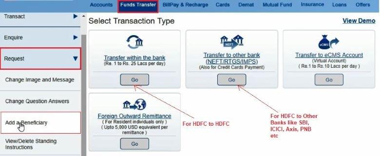 transfer money hdfc