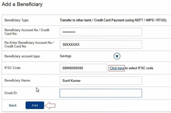 Transfer to other bank