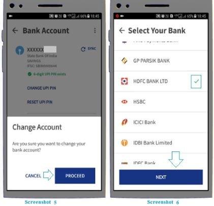 bank account in BHIM