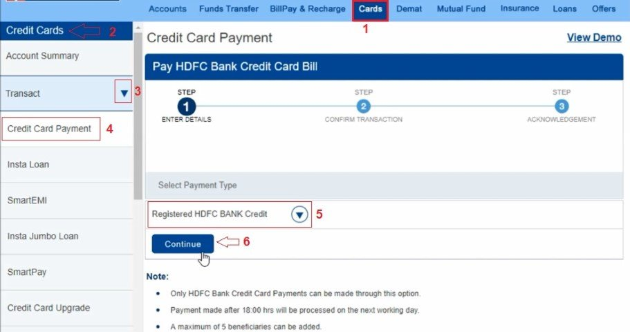 online hdfc credit card payment through other bank