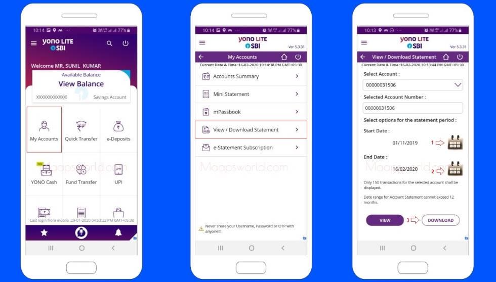 Get SBI Bank statement on mobile