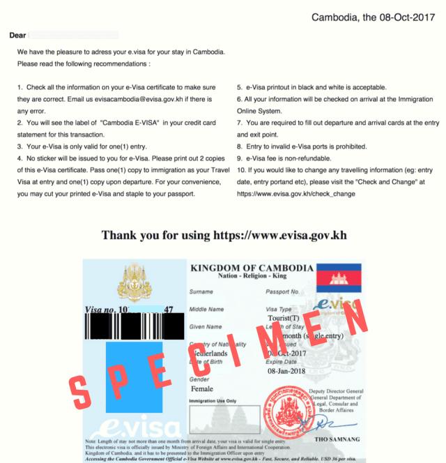 e-visum cambodja