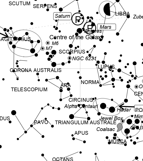 August 2016 night sky guide and sky chart