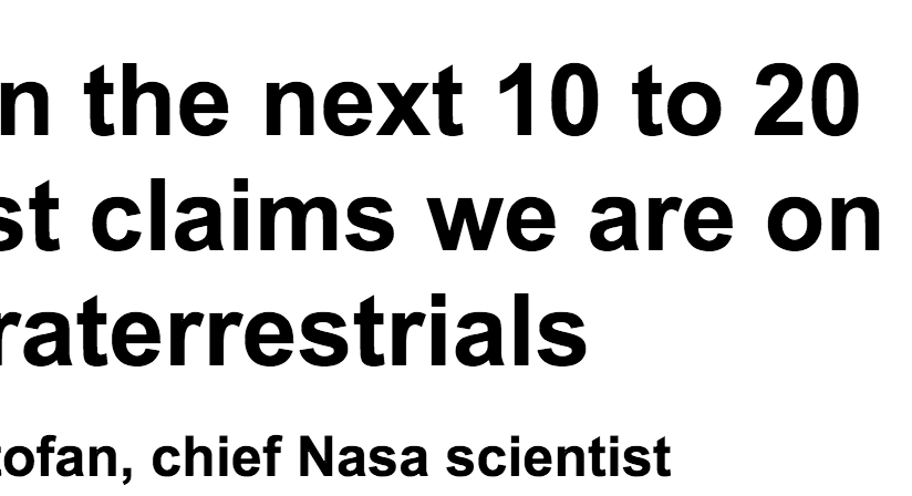 http://www.dailymail.co.uk/sciencetech/article-3029599/We-alien-life-10-20-years-Nasa-scientist-claims-verge-meeting-extra-terrestrials.html