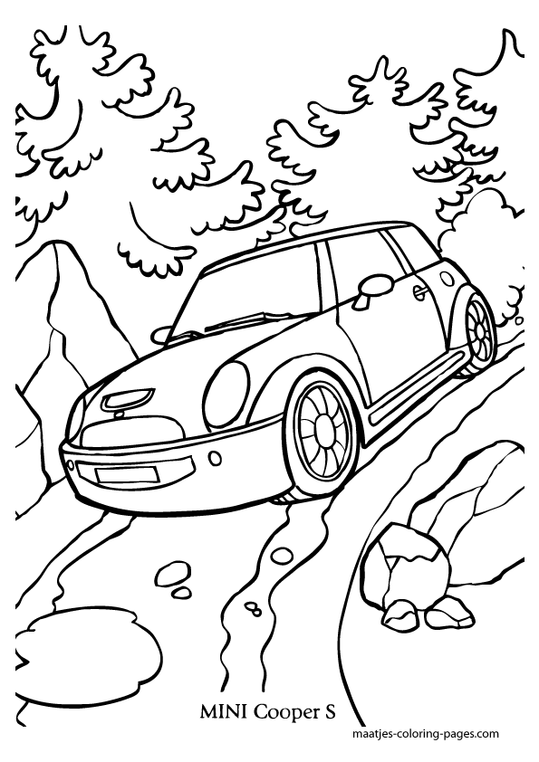mini cooper side coloring coloring pages