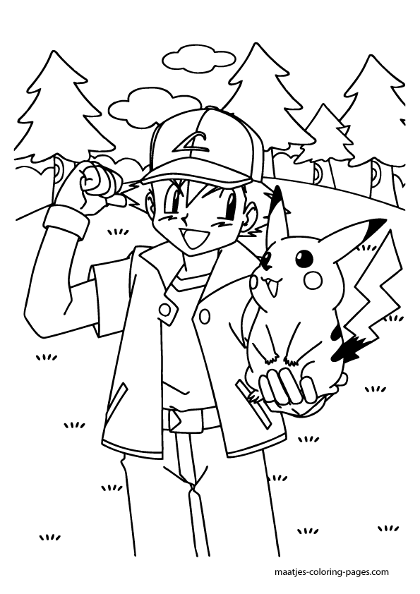 Pikachu And Ash Coloring Pages : pikachu, coloring, pages, Pikachu, Ketchum, Coloring