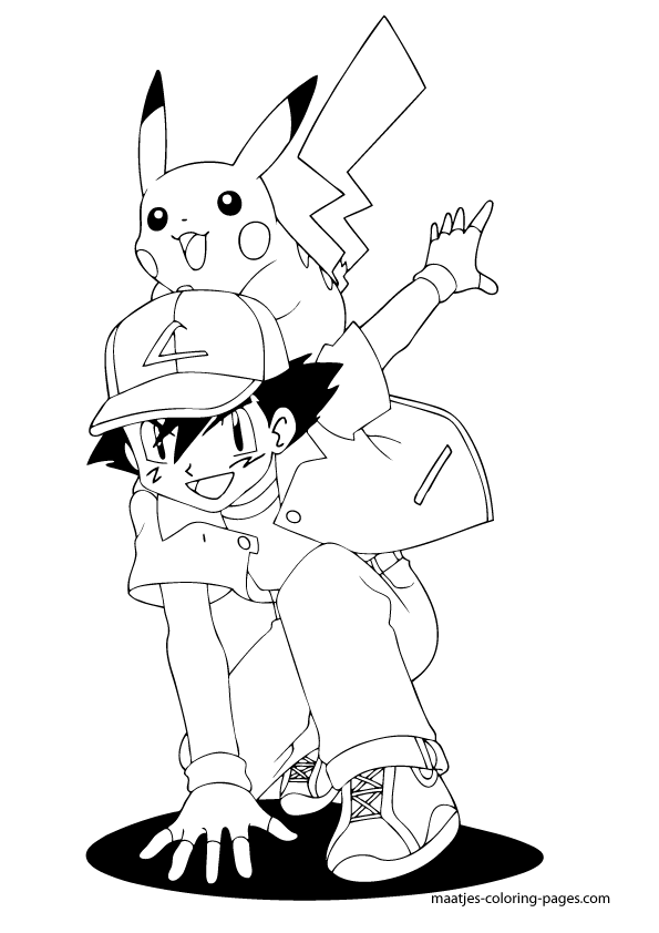 Pikachu And Ash Coloring Pages : pikachu, coloring, pages, Ketchum, Pikachu, Coloring
