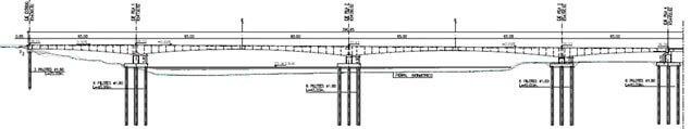 Perfil estructural puente sobre Río Mira