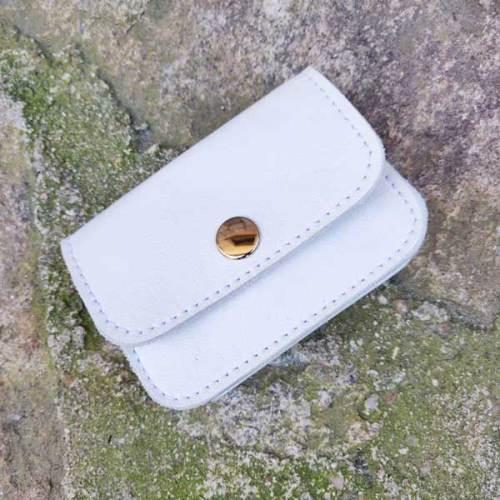 monedero, 3 bolsillos de piel, hecho a mano, blanco