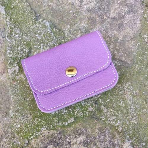 monedero, 3 bolsillos de piel, hecho a mano, lila