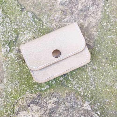 monedero, 3 bolsillos de piel, hecho a mano, marfil