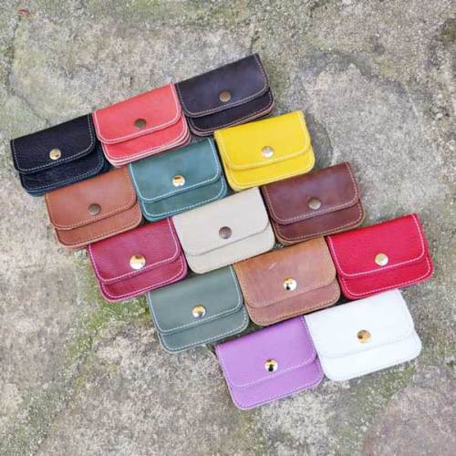 monedero, 3 bolsillos de piel, hecho a mano, diferentes colores