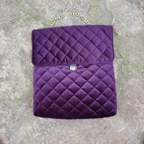 bolso de terciopelo, piel, señora, artesania, rosa
