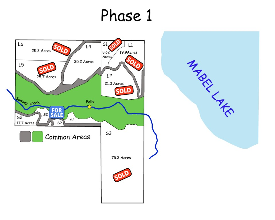 Mabel Lake Lots for Sale Map Phase 1