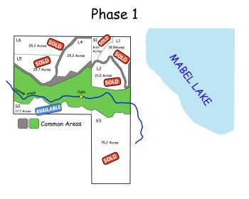 Mabel Lake Lots Available Map Phase 1