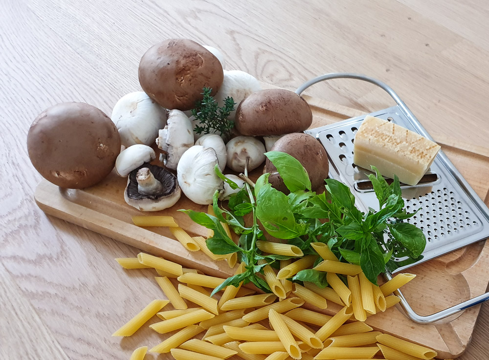 Penne aux champignons et basilic frais, recette de saison