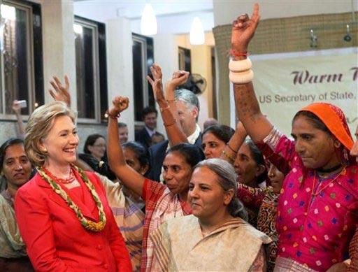 US Secretary of State Hillary visits the Hansiba SEWA Trade Facilitation Center in Mumbai. (PTI photo)