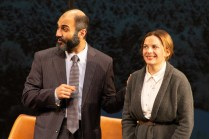 Maboud Ebrahimzadeh and Kimberly Gilbert as Ahmed Qurei and Toril Grandal in OSLO