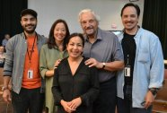 The Price at Arena Stage, Maboud Ebrahimzadeh, Pearl Sun, Hal Linden, Rafael Untalan, and Seema Sueko. Photo courtesy of Arena Stage.