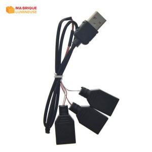 Câble d'extension USB 3 en 1 pour kit led LEGO®