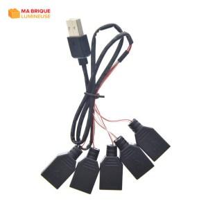 Câble d'extension USB 5 en 1 pour kit led LEGO®
