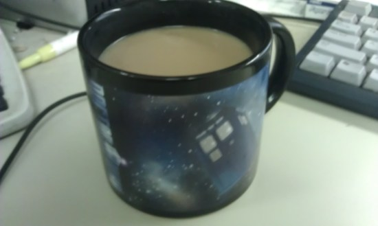 TARDIS mug filled with Cocoffee