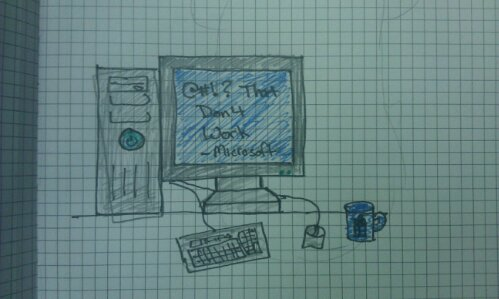 #DailyDoodle Jan 8, 2012 – Warning Signs of a Long Day