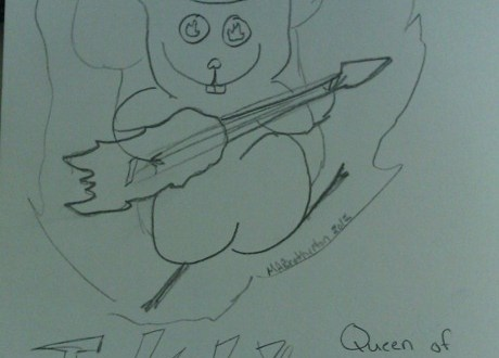 #DailyDoodle –  By Request: InkyTwig, Queen of the Flaming Squirrels