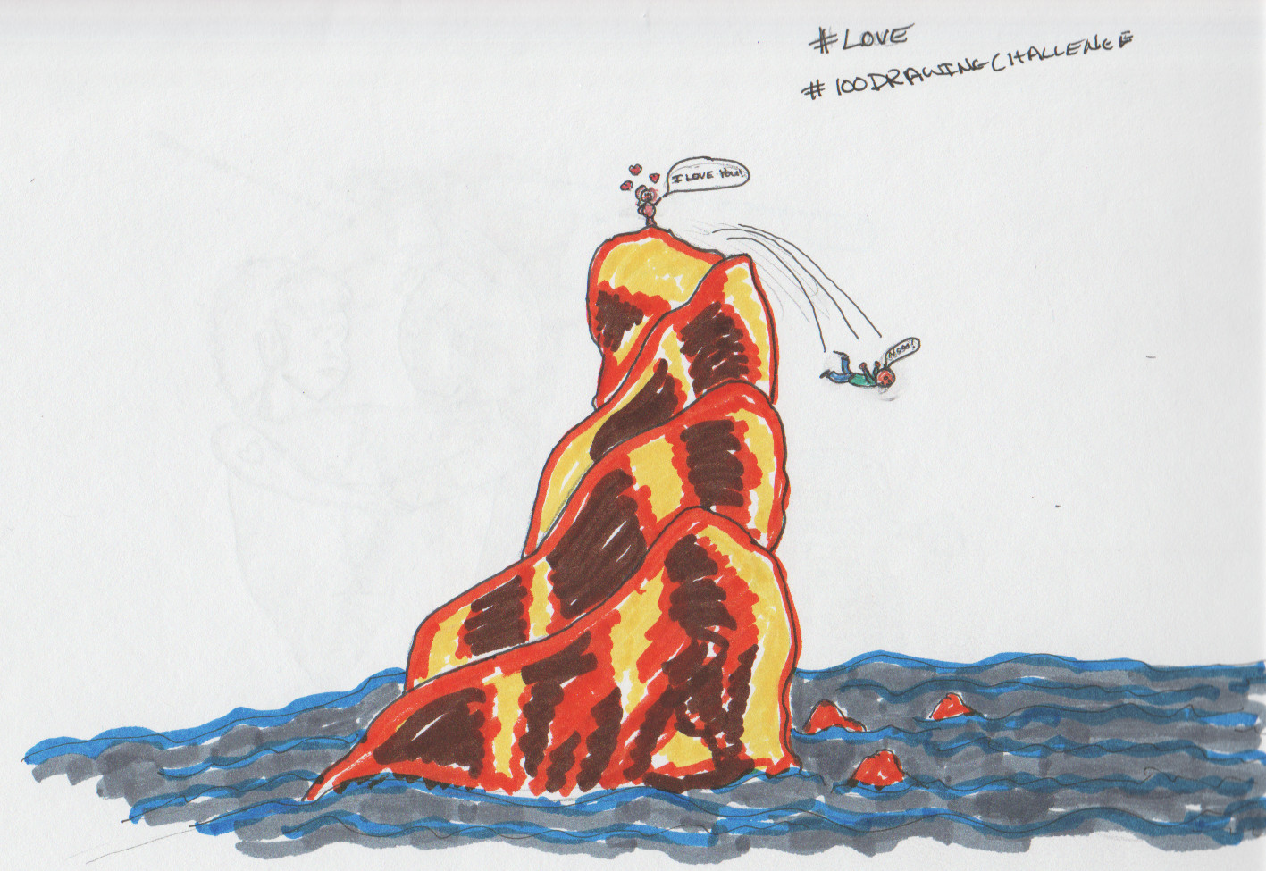Drawing in marker of a man throwing himself off of a cliff to get away from a crazy lover.