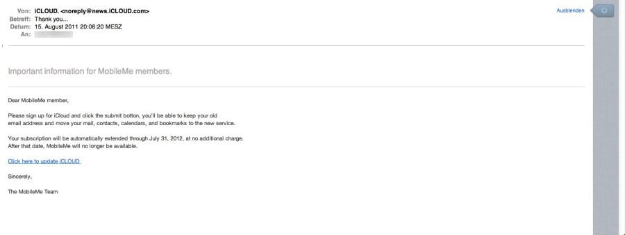 iCloud Ankündigung