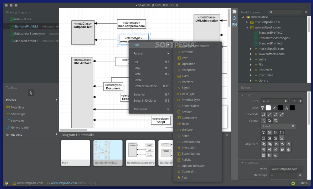 medium resolution of  diagrams use staruml the staruml contextual menu offers you the possibility to seamlessly integrate new elements into