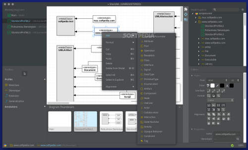 small resolution of  diagrams use staruml the staruml contextual menu offers you the possibility to seamlessly integrate new elements into