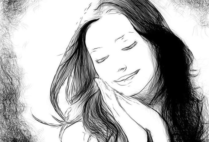 Drawing black and white photo
