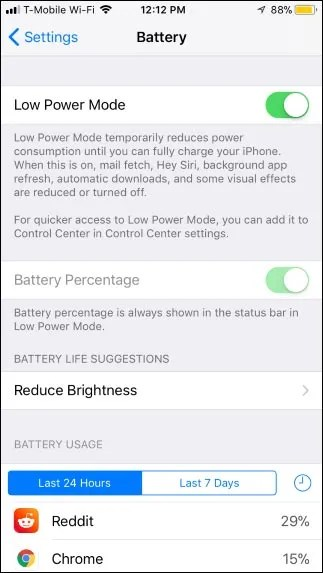 how to turn on low power mode