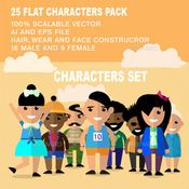 25 flat characters design vector pack 12212224 icon