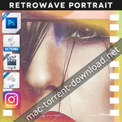 Animated retrowave portrait action 19498962 acciones ps icon