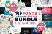 100 fonts and 2000 professional graphics icon