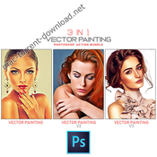 3 in 1 vector painting photoshop action bundle icon