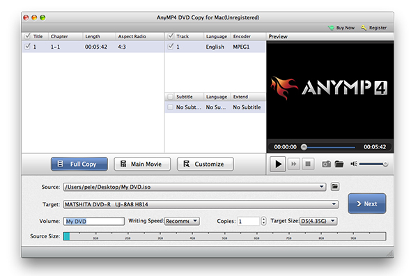 AnyMP4 DVD Copy for Mac 3120 Screenshot 02 pmssxuy