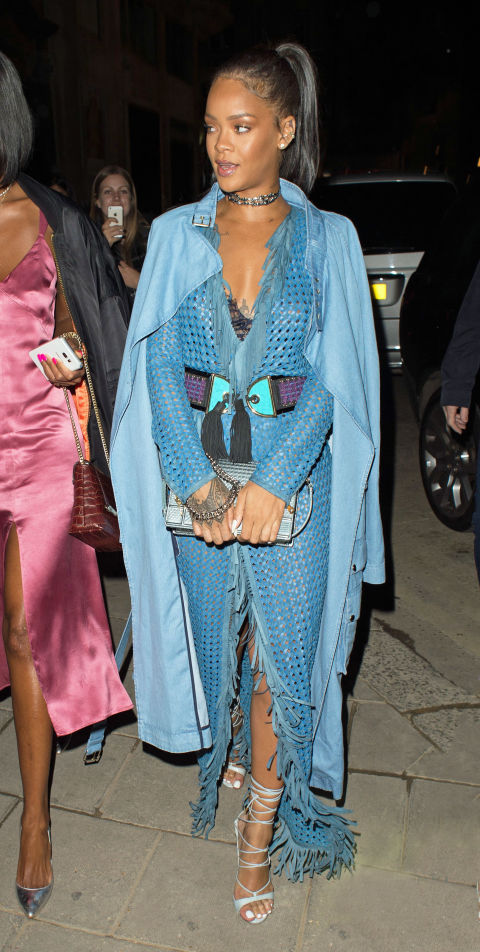 For night #4 with Drake (FOUR!), RiRi put an unexpected spin on warm-weather leather and wore a blue woven leather Balmain dress and denim jacket.