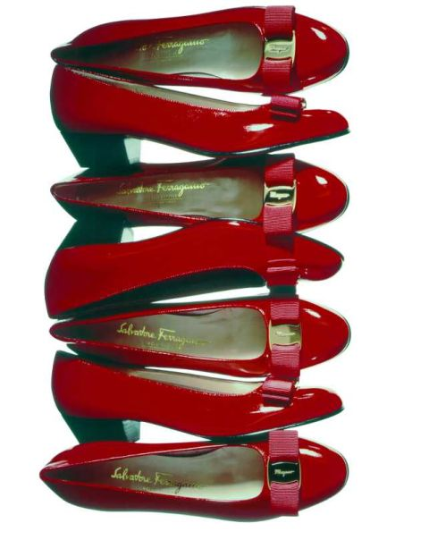 Enter: Ferragamo's famous patent leather bow pump.