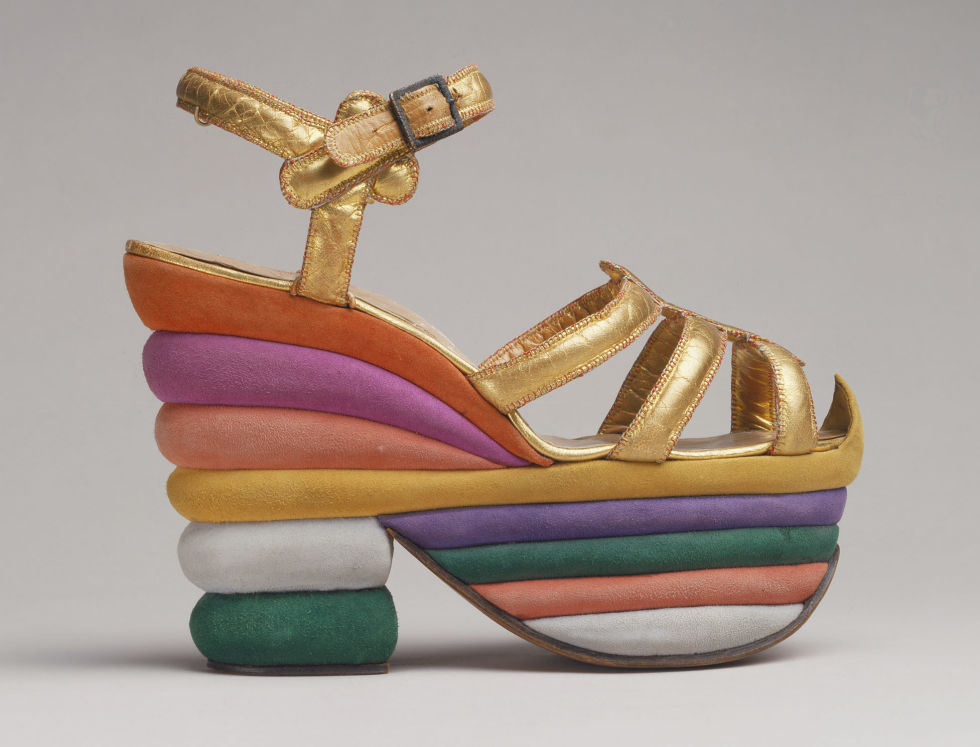 Ferragamo created his iconic rainbow platform in 1938 for actress Judy Garland.