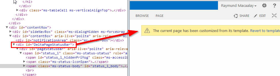How to remove revert to template message in sharepoint raymund 07 delta page status bar pronofoot35fo Choice Image